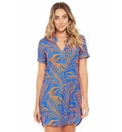 Vestido pra folhagem blue curto Naomi Cayena