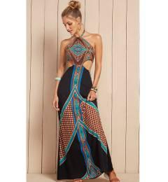 Vestido longo recorte lateral praia Vestido Elisia