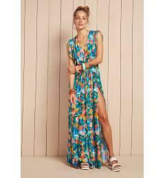 Vestido longo fenda estampa floral Vestido Serena