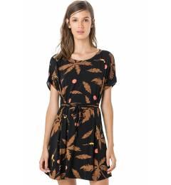 Vestido manguinha estampa preta Kaftan Rolote Black