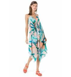 Vestido midi estampado praia - Vestido Frente Única LenÇo