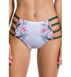 Calcinha estampada com strappy lateral - Bottom Cropped Flor De Kaki