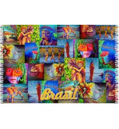 Canga de praia colorida Indios Patchwork Brasil