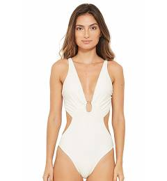 Body recorte lateral off white Resort Branco Perola