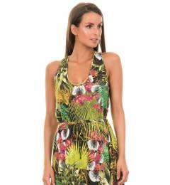 Vestido print tropical Folhagem Verde