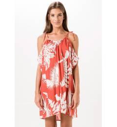 Vestido estampa folhagem red Viana