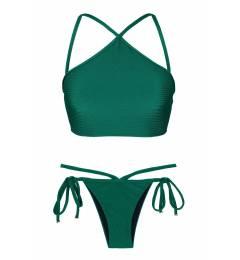 Top cropped texturizado verde Duna Green Cropped Neck