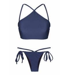 Cropped calcinha strappy texturizado azul Duna Marinho Cropped Neck