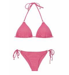 Biquíni de lurex rosa com brilho Radiante Rosa Arg Tri