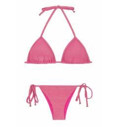 Biquíni de lacinho cortininha rosa brilho Radiante Rosa Tri