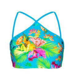 Top flora tropical azul sport Soutien Tropical Blue Neck